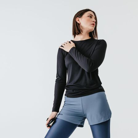 KALENJI - Small  Women's Running Long-Sleeved T-Shirt Run Sun Protect, Black