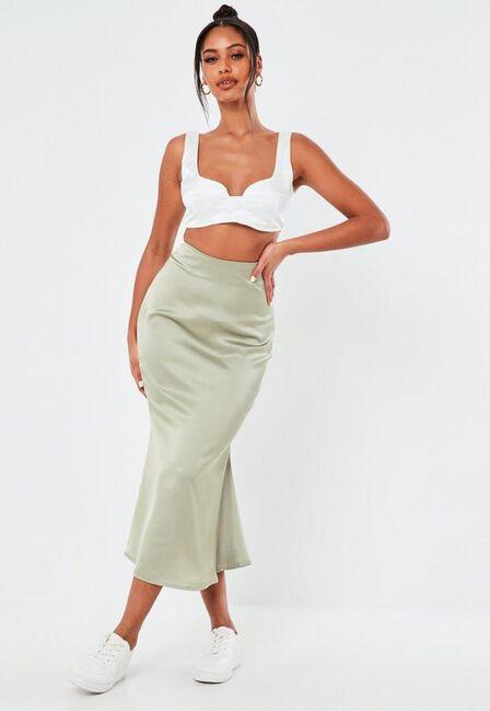 Missguided - Green Mint Satin A Line Slip Midi Skirt