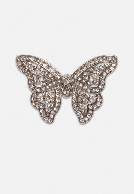 Missguided - Silver Look Butterfly Diamante Ring