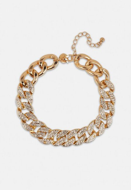 Missguided - Gold Gold Look Pave Crystal Chain Anklet