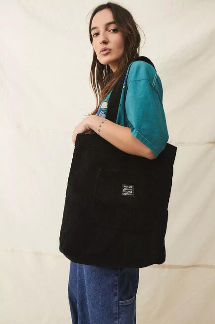 Urban Outfitters - Black UO Corduroy Pocket Tote Bag, Women