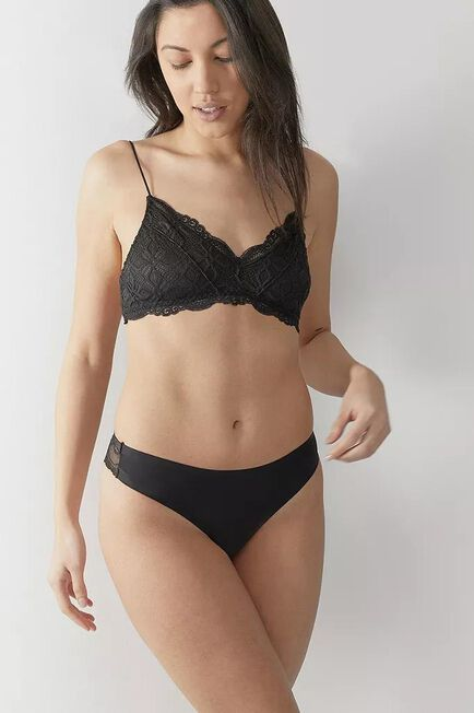 Urban Outfitters - Black Out From Under Nina Laser-Cut Lace-Back Thong