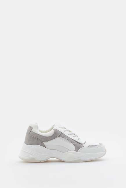 Mohito -  Sneakers With Leather Inserts - White