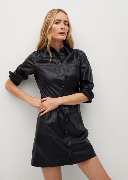 Mango - black Faux-leather shirt dress