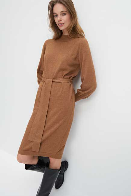 Mohito -  Waist Tie Knitted Dress - Beige