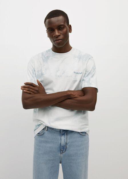 Mango - medium blue Tie-dye embroidered message t-shirt, Men