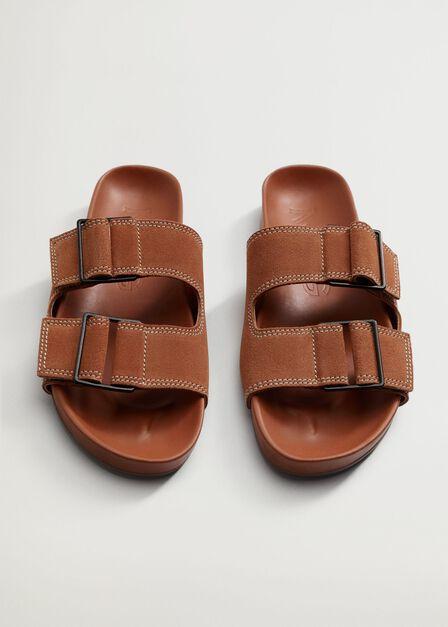 Mango - medium orange Leather straps sandals, Women