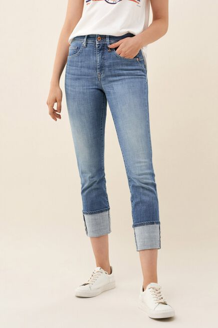 Salsa Jeans - Blue Push In Secret Glamour turned-up cropped jeans