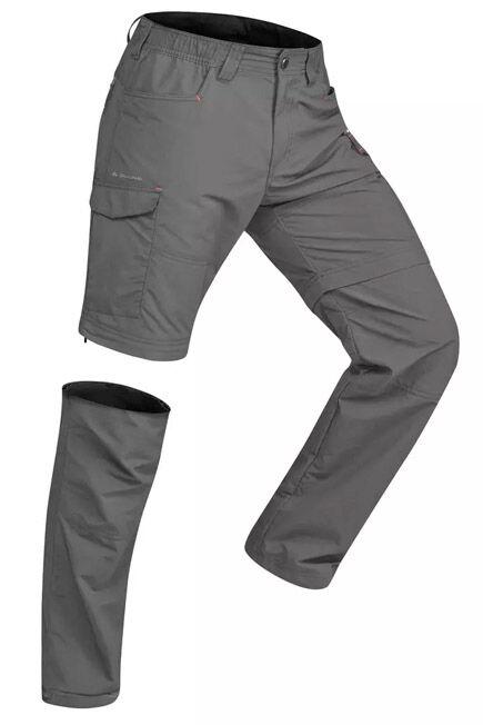 FORCLAZ - Men's mountain trekking zip-off trousers trek100 - dark grey, M