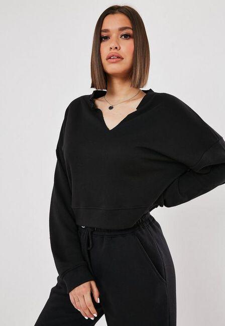 Missguided - Black Black Oversized V Front Sweatshirt