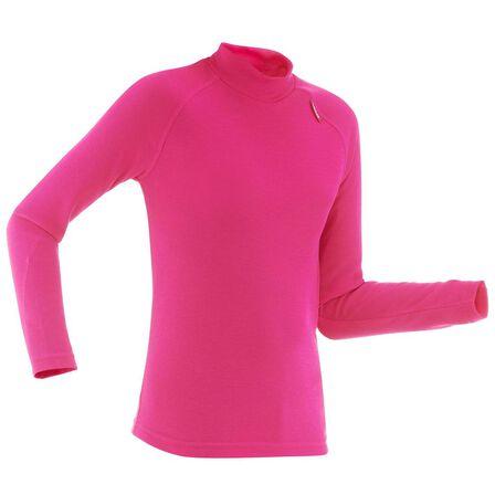 WEDZE - 12-13 Years  Kids' Base Layer Ski Top 100 - Pink, Fuchsia