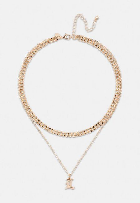 Missguided - Gold Look Gothic Initial Pendant L Necklace, Women