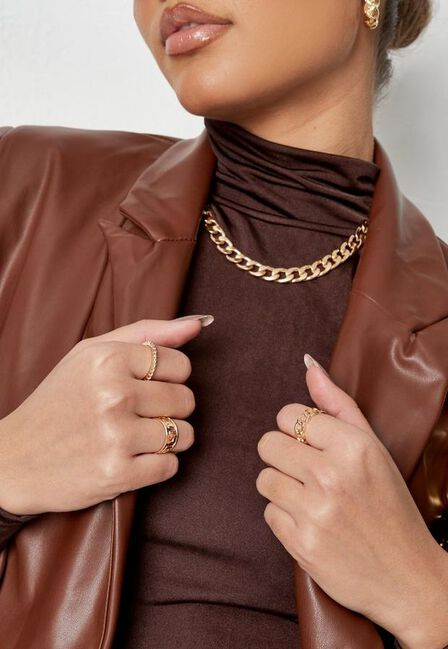 Missguided - Gold Gold Look Geometric Rings Multipack