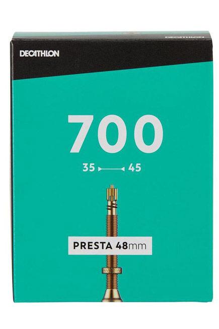 BTWIN - 700x35/45 48 mm presta inner tube, VELO VALVE
