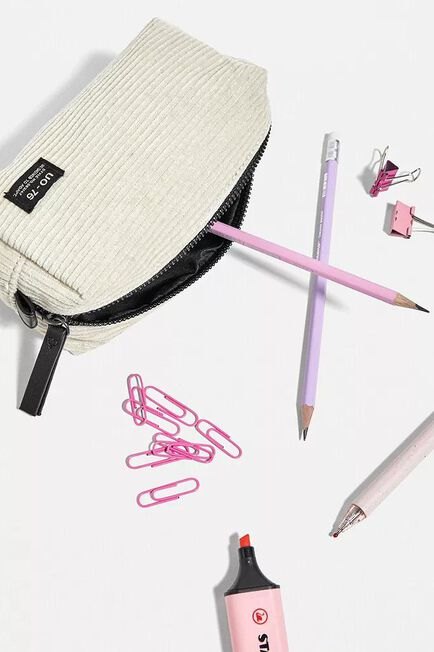 Urban Outfitters - Ivory UO Core Corduroy Pencil Case, Women