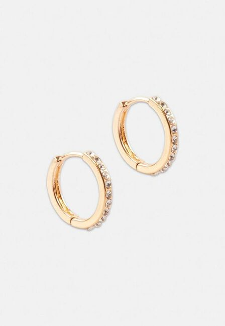 Missguided - Gold Look Pave Huggie Hoop Earrings, Women