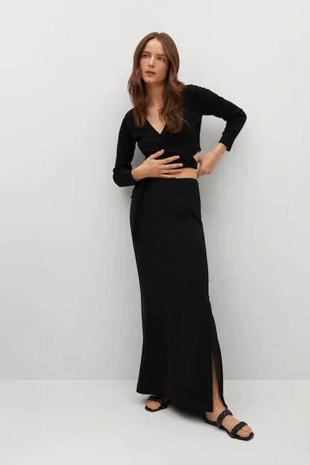Mango - Black Slit Long Skirt, Women