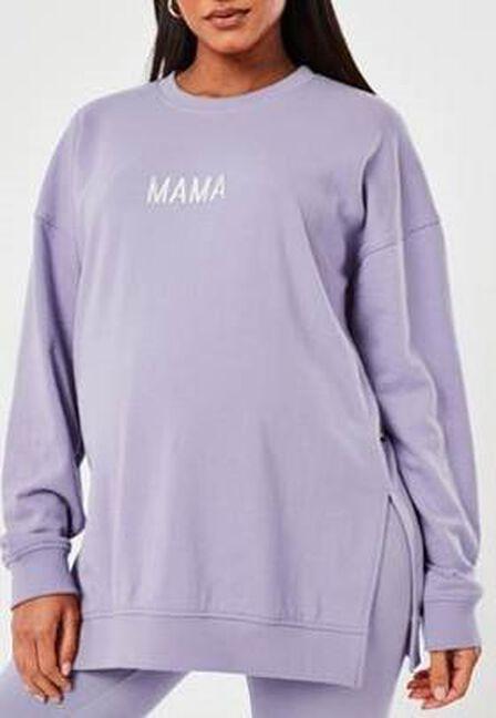 Missguided - Lilac Mama Slogan Maternity Sweatshirt