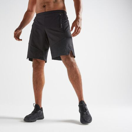 DOMYOS - Medium  FST 500 Cardio Fitness Shorts AOP, Black