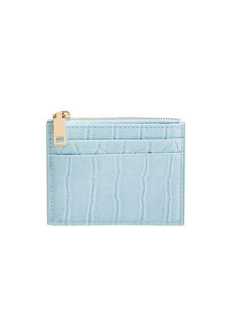 Mango - lt-pastel blue Croc-effect cardholder