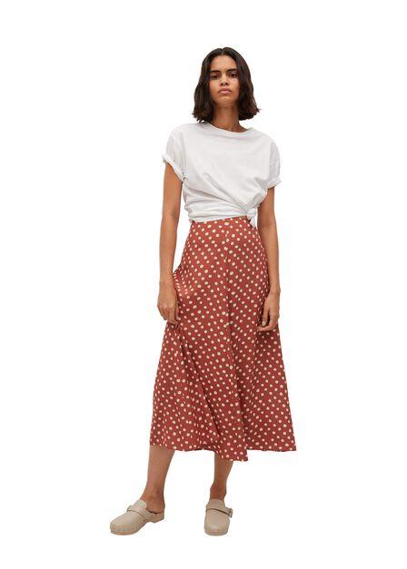 Mango - Brown Printed Midi Skirt, Women