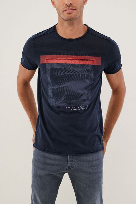 Salsa Jeans - Navy Textured Crew Neck T-Shirt