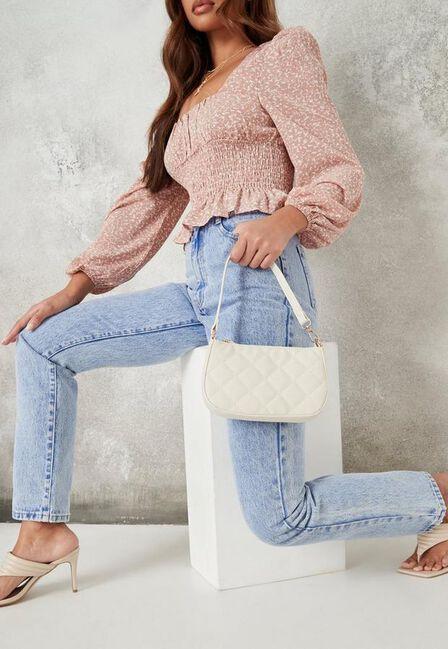 Missguided - Cream Diamond Quilted Faux Leather Shoulder Bag