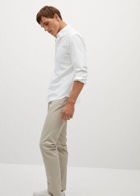 Mango - white Slim fit modal cotton shirt