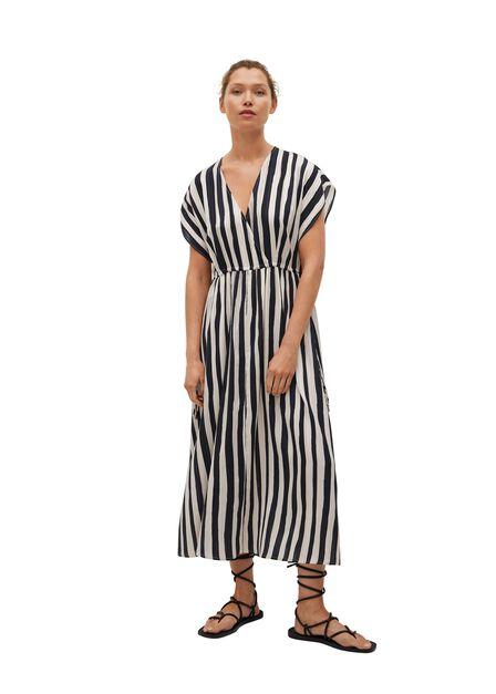 Mango - black Striped flared dress, Women
