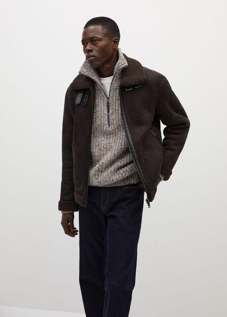 Mango - dark brown Shearling-lined aviator jacket