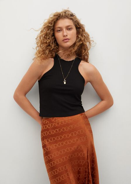 Mango - Rust - Copper Midi Satin Skirt, Women
