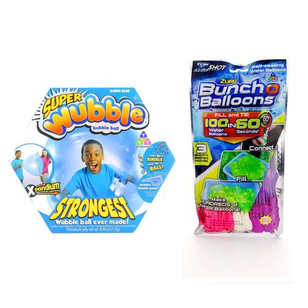 WUBBLE BUBBLE - Wubble Bubble Blue Super Wubble Ball with Pump + Bbunch O Balloons Rapid Fill 3 Pack