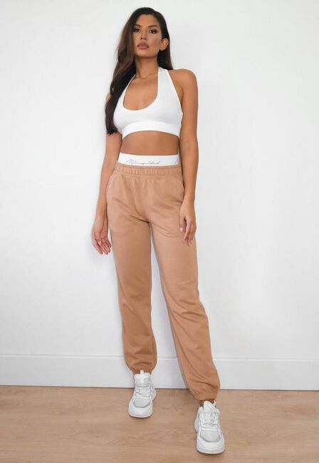 Missguided - Camel Missguided Script Tape Loungewear Joggers