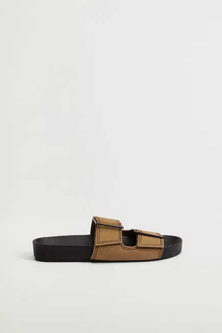 Mango - medium brown Leather straps sandals, Women