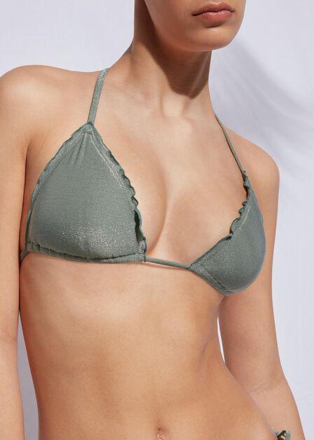 Calzedonia - SHINY SILVER GREEN Padded Triangle Bikini Top Formentera