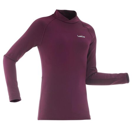 "WEDZE - 12-13 Years  Kidsأ¢â'¬â""¢ Ski Base Layer Top FRESHWARM - Plum, Damson"
