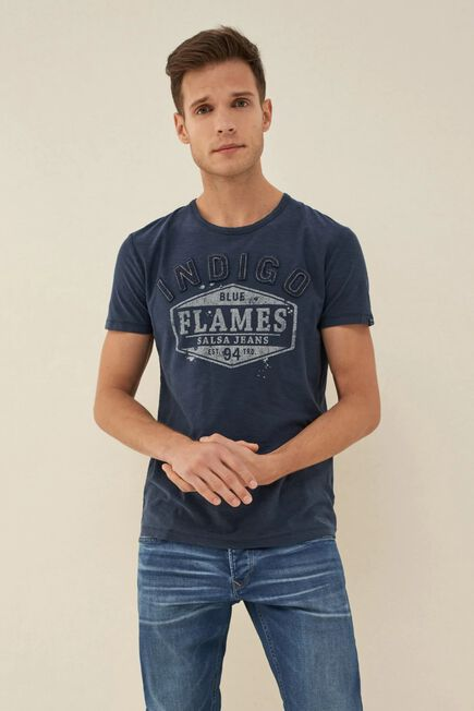 Salsa Jeans - Blue T-shirt with stitched-on letters