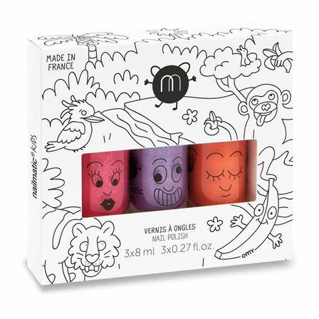 NAILMATIC - Nailmatic Kids Jungle Set of 3 Water Based Nail Polishes Sissi + Piglou + Dori