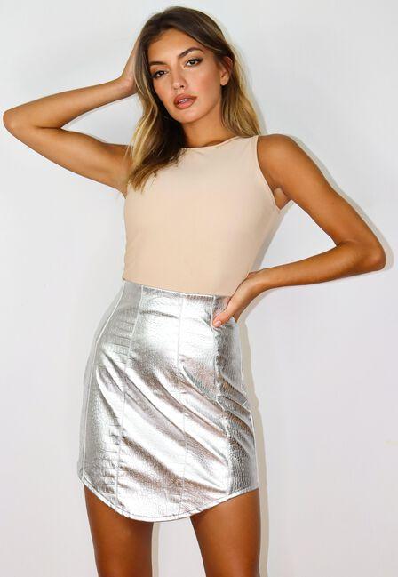 Missguided - Silver Silver Metallic Croc Dip Hem Mini Skirt
