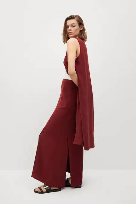 Mango - dark red Slit long skirt, Women