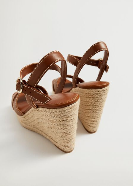 Mango - medium brown Wedge strips sandals