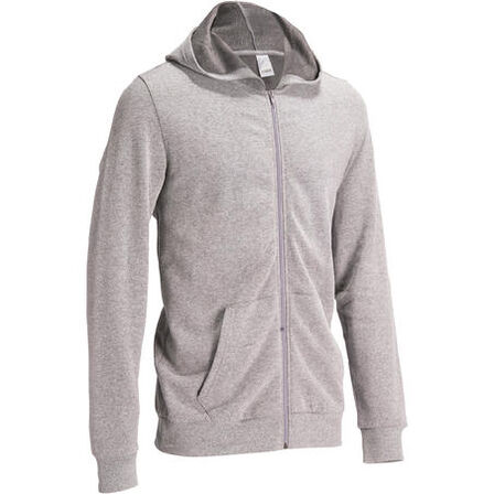 DOMYOS - Hooded gym   pilates sweatshirt - mottled grey