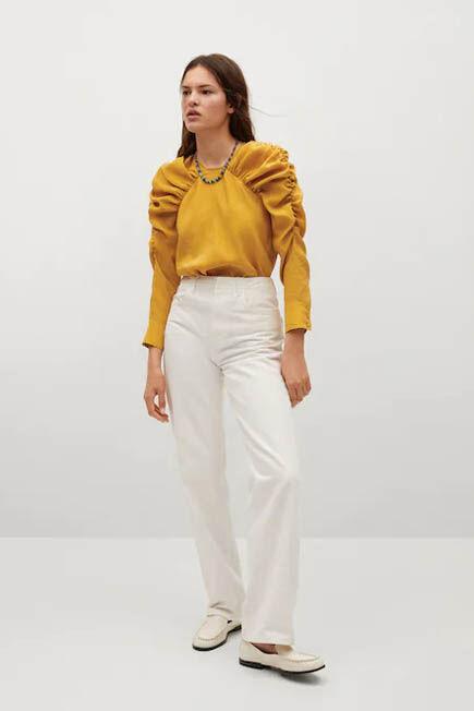 Mango - medium yellow Puff sleeves blouse, Women