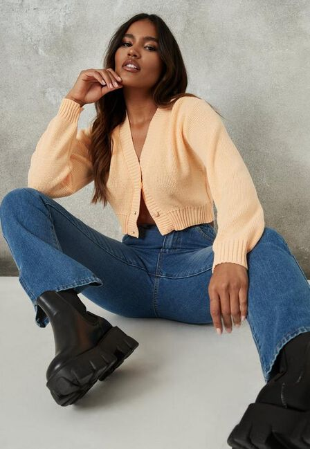 Missguided - Peach Basic Knit Crop Cardigan