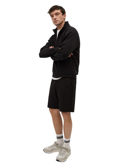 Mango - black Elastic waist cotton Bermuda shorts, Men