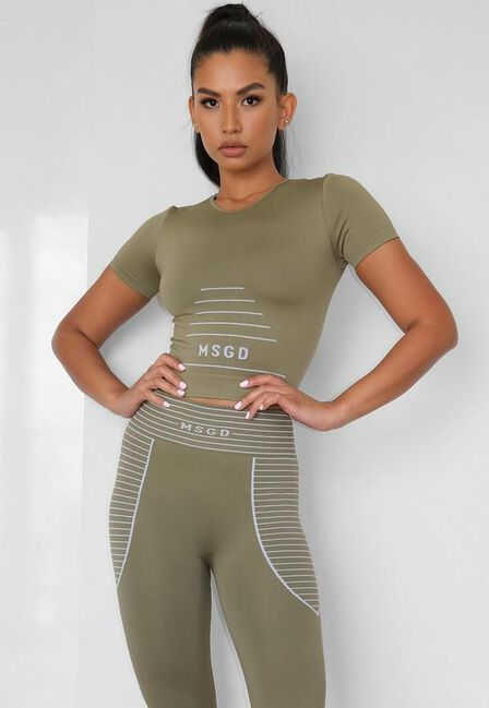 Missguided - Kahki Seamless Missguided Crop Gym T Shirt