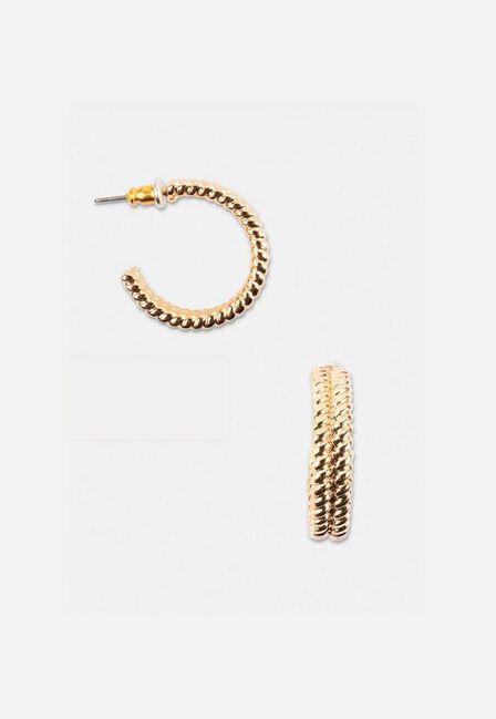 Missguided - Gold Look Rope Twist Hoop Earrings, Women