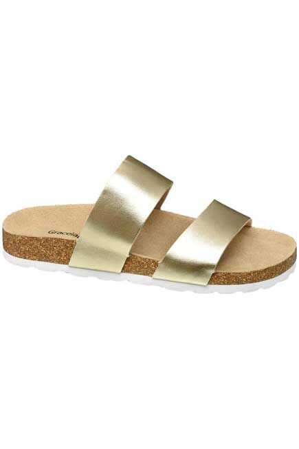 Graceland - Gold Strapped Mules, Women