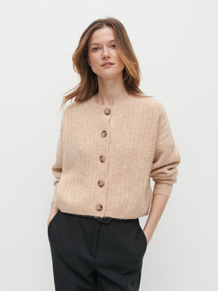 Reserved - Ladies' Button Down Cropped Jumper - Beige