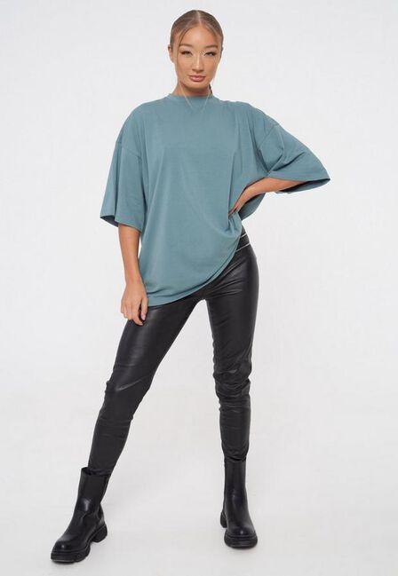Missguided - Blue Drop Shoulder Oversized T Shirt